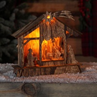 Noma® LED Lit Nativity Scene B/O - Natural Wood (1215025)