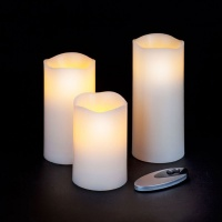 Snowtime Set of 3 Flameless Candles With Warm White LEDS - Remote Control