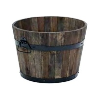 Apta Burnt Finish Rustic Barrel Planter 37cm