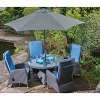 Harrow Round 4 Seat Garden Dining Set Inc. Cushions