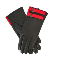 Powder Dixy Leather Gloves - Charcoal w/ Berry Strap