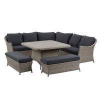 Bramblecrest Monterey Modular Sofa Suite & Square Dining Table Bench Set