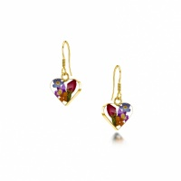 Shieking Violet Silver Drop Earrings Mixed Flowers + Yellow Small Heart