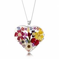 Shrieking Violet Silver Pendant Mixed Flowers Large Heart