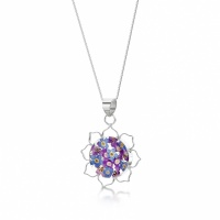 Shrieking Violet Silver Pendant Purple Haze Lotus Flower