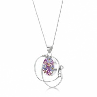 Shrieking Violet Silver Pendant Purple Haze Swirl and Oval