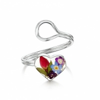 Shrieking Violet Silver Ring Mixed Flowers Heart