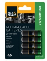 Cole and Bright AA Rechargeable Batteries Pack 4 for Solar Lights