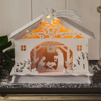 Noma® LED Lit Nativity Scene B/O with Timer - White Wood (1214023)