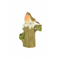 Floral Silk Robin On Tree Trunk 13cm